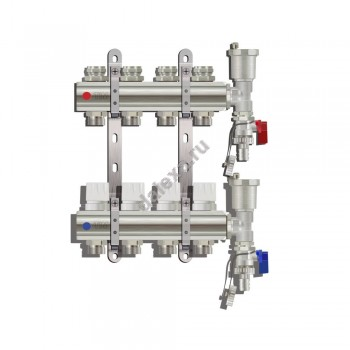Коллектор TIM KA006 для теплого пола на 6 контуров с расходомерами