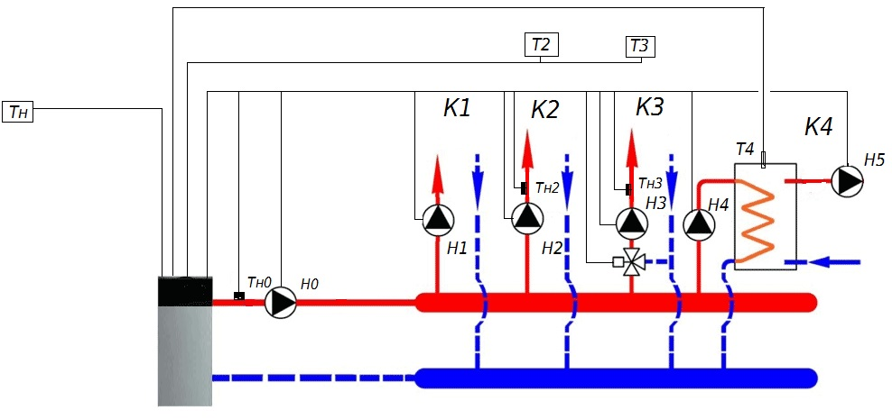 принципиальная схема отопления и водоснабжения